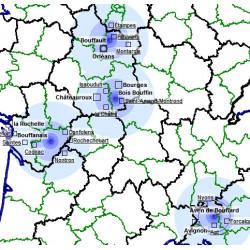 Localisations de plusieurs toponymes sur la carte